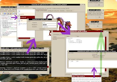 Imagen del generador con el administrador mysql en PHP/GTK