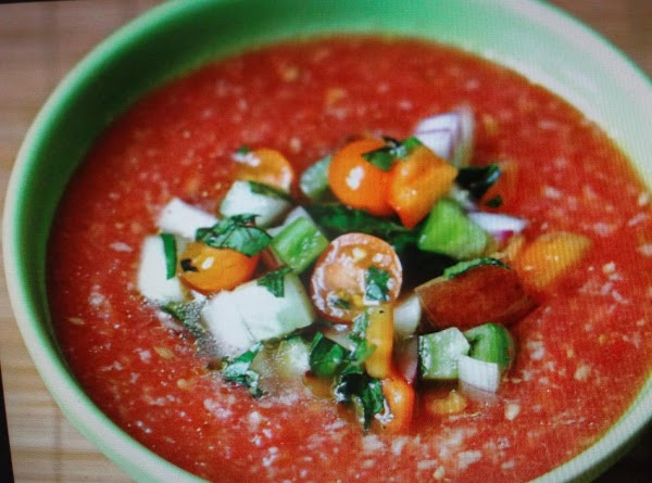 FOR GAZPACHO: Peel tomatoes, chop tomatoes, onions, pepper, and garlic