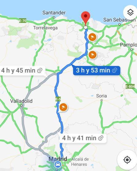 Google Maps ofrece los distintos radares distribuidos por cada trayecto / Cadena SER
