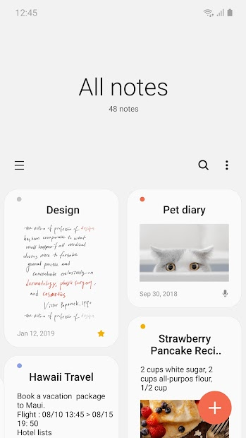 Samsung Notes Android App Screenshot