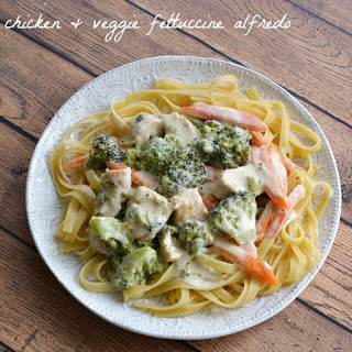 Chicken & Vegetable Fettuccine Alfredo Recipe featuring Calphalon