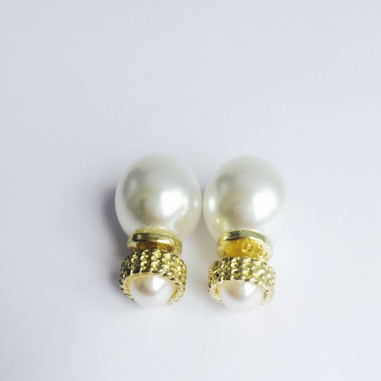 E023 - G. Double Jumbo Faux Pearl Earrings by House of LaBelleD.