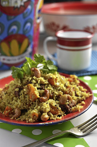 Lamb biryani with apricots & cashews.