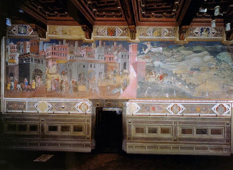 Ambrogio Lorenzetti,Allegoria del Buon Governo), la parete Est (Effetti del Buon Governo in città e in campagna) della Sala dei Nove del Palazzo Pubblico