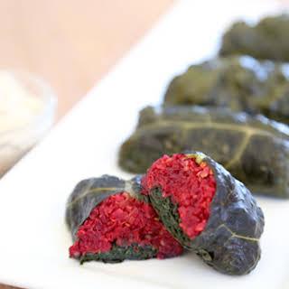 Quinoa & Beet Kale Dolmades.