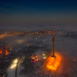 Мissile launch -2 by Валентин Найденов - City,  Street & Park  Night ( tvtower, night, drone, tower )