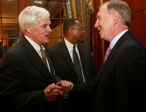 Photo: BBA President Paul Dacier greets Governor's Councillor Robert Jubinville.