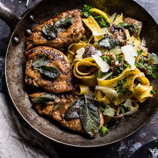 Browned Sage Butter Chicken Piccata with Mushroom Pasta..