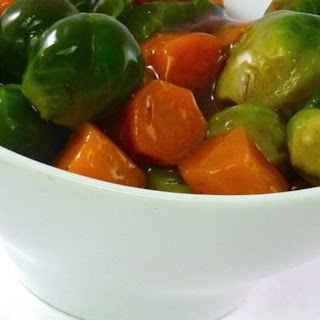 Glazed Carrots and Brussels Sprouts.