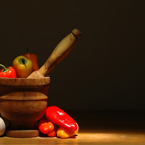 grandma's mortar by David Ubach - Artistic Objects Still Life ( peppers, garlic, wood, mortar, sunlight )