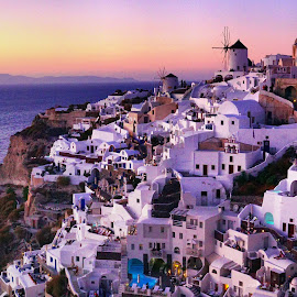 Sunset Point Oia, Santorini by May May - City,  Street & Park  Vistas ( building, mountain, sky, sunset, twilight, town, oia, santorini, city,  )