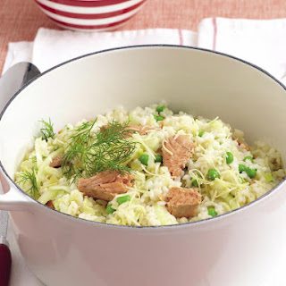 Fennel, Pea and Salmon Risotto.