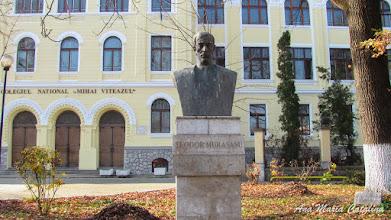"Photo: Str. Dr. Ioan Ratiu, Nr.111 - Colegiul National ""Mihai Viteazul"" - Bustul lui Teodor Murasanu si ""Stejarul Unirii"" (2013.10.29)"