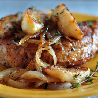 Pork Loin Chops with Apples and Onions.