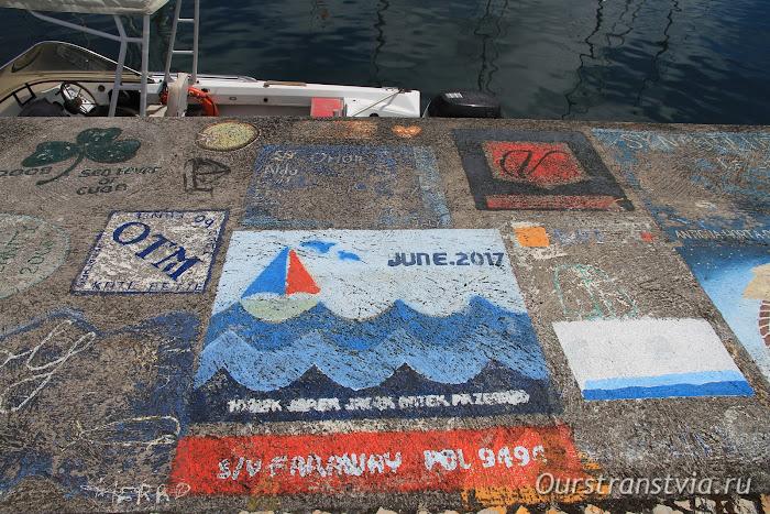 Порт Хорта, рисунки на пирсе, Фаял, Азорские острова