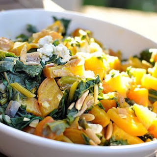 Warm Golden Beet Salad with Greens and Almonds