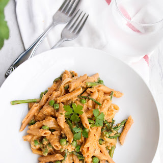 Spring Vegetable Hummus Pasta.
