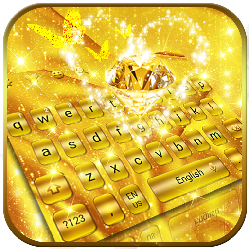 Live Gold Glitter Heart Keyboard