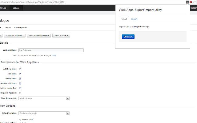BC Web app config import/export