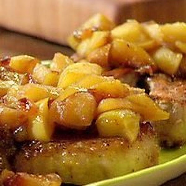 When chops are browned and almost done, add the apple mixture to the skillet...