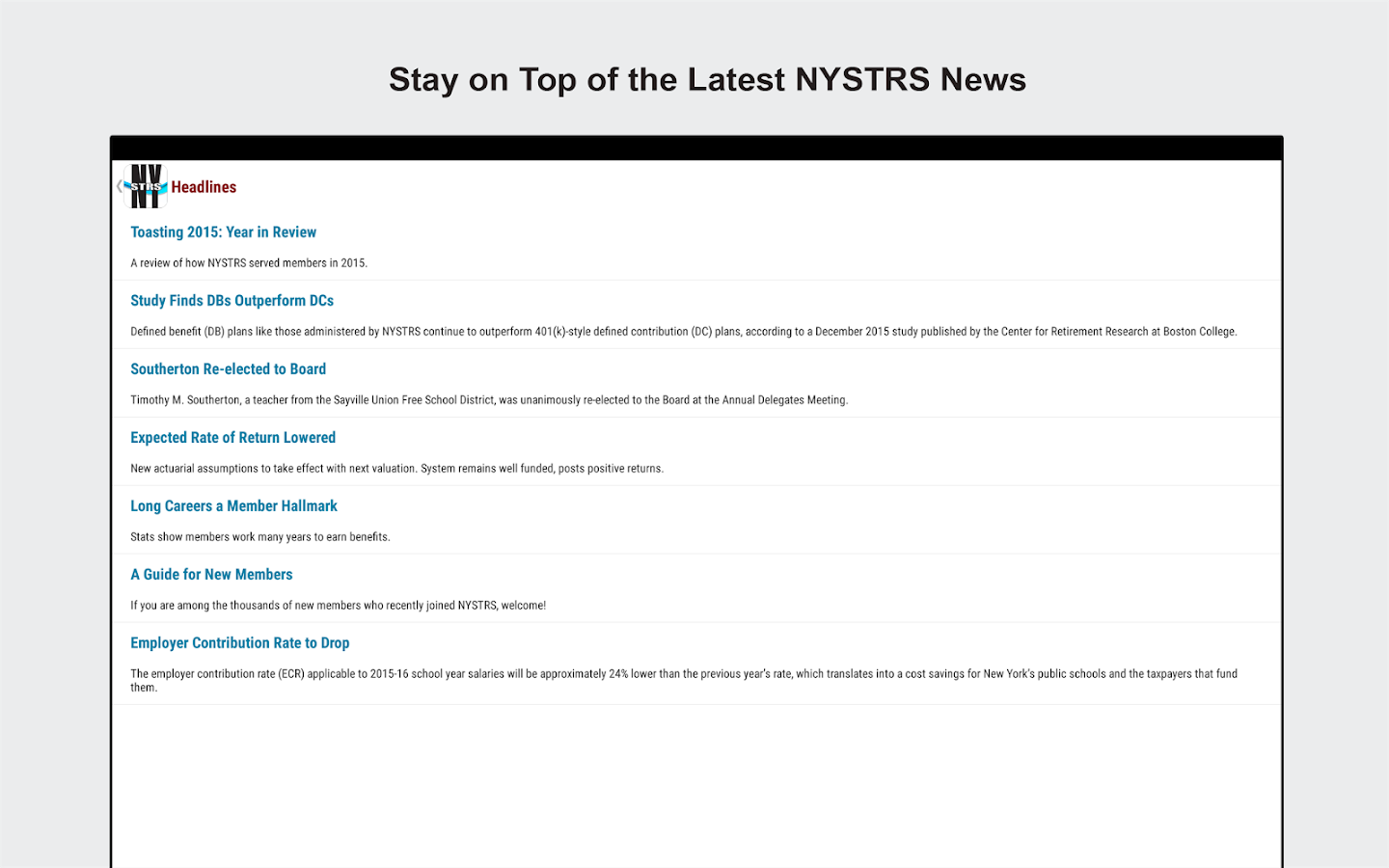 NYSTRS Mobile- screenshot