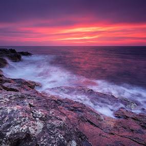 Rocky sunrise by Evgeni Ivanov - Landscapes Sunsets & Sunrises ( reef, purple, blue, pink, scenic, bulgaria )