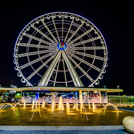 Eye of Emirates by Zulfikar Khan - City,  Street & Park  Amusement Parks ( amusement park, al qasba, fountain, sharjah, nightscape, eye of emirates, ferris wheel )