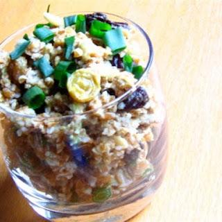 Bulgur Wheat Salad with Avocado, Raisins, and Almonds.