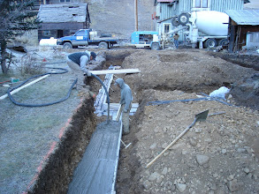 Photo: We used plastic form material to save on wood and it works great. Concrete had to be pumped to the footers.