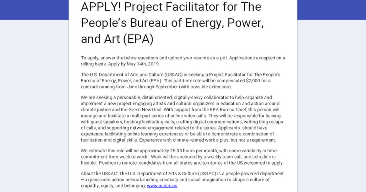 APPLY! Project Facilitator for The People's Bureau of Energy