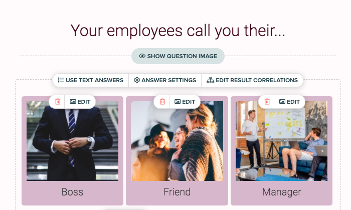 Your employees call you their... question with answer images for boss, friend, and manager