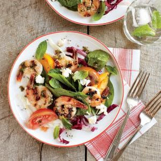 Herbed Shrimp with Tomato-Spinach Salad