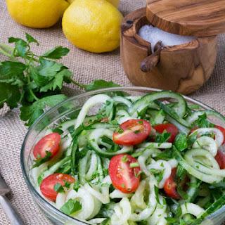 Low Carb Cucumber Noodle Lemon Gremolata
