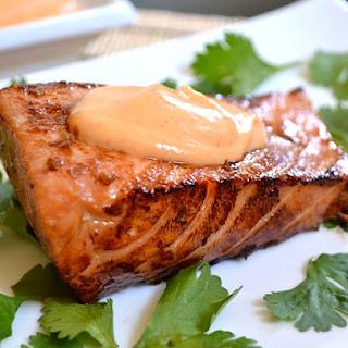 Teriyaki Salmon With Sriracha Mayo.