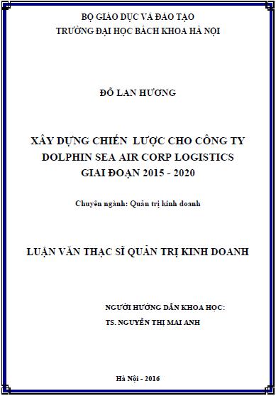 Luận Văn Thạc Sĩ - Xây Dựng Chiến Lược Cho Công Ty Dolphin Sea Air