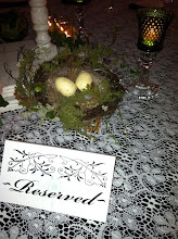 Photo: Old green glass hobnail votives, organic birds nest, cream lace table cloth over black.