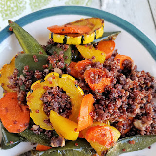 Roasted Delicata Squash, Golden Beet, Carrot & Poblano Red Quinoa with Quick Turmeric Lemon Dressing.