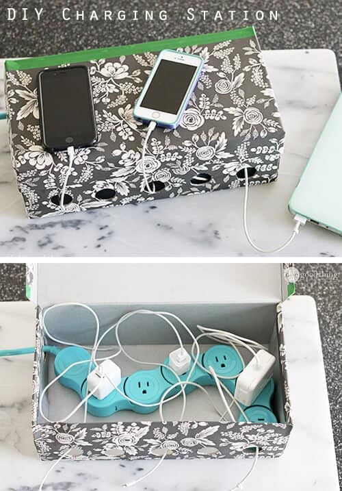 Room organization tips - shoe box with chargers and blue power cord