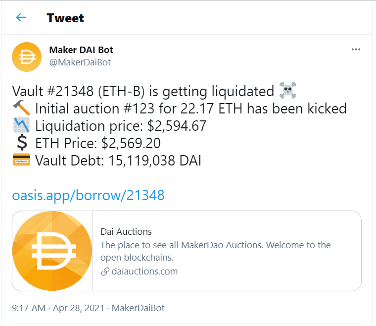 @MakerDaiBot tweets information on Vault liquidations and collateral auctions.