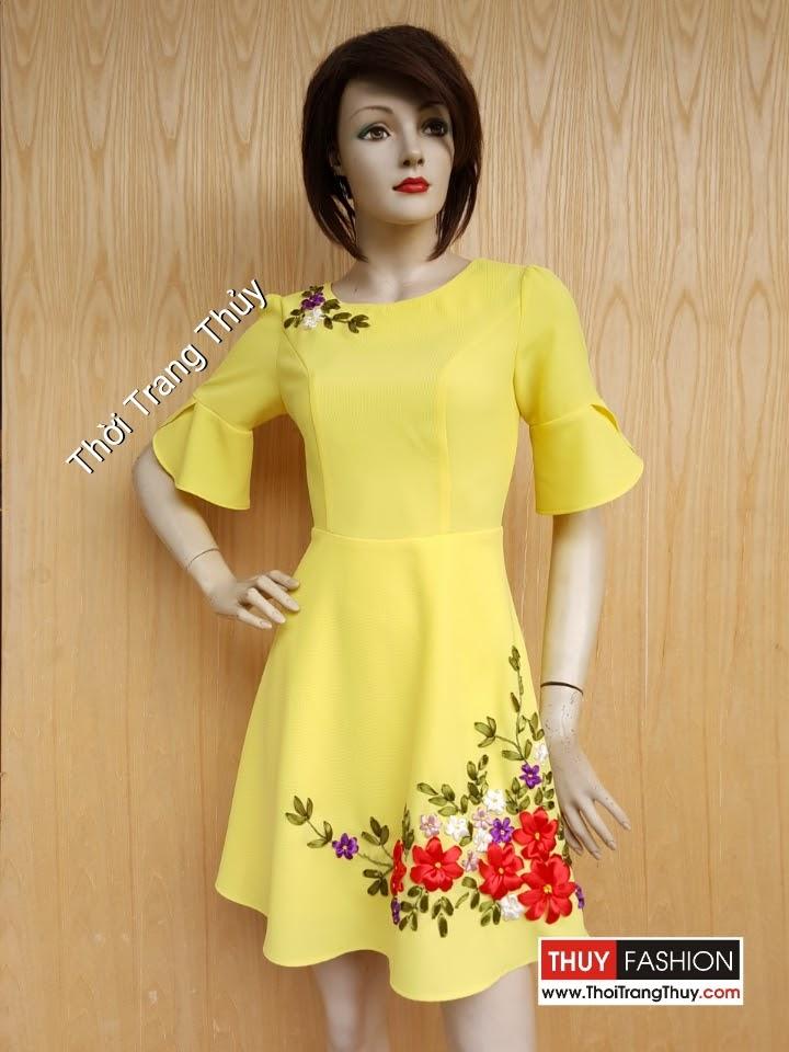 Váy xòe họa tiết hoa ruy băng tông màu vàng chanh V440 Thời Trang Thủy