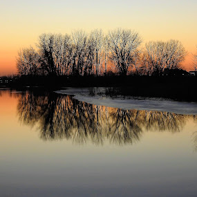 Calming Influence by Kathy Woods Booth - Landscapes Sunsets & Sunrises ( reflections, sunset )
