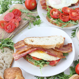 Breakfast BLTs with Spicy Mayo and Arugula.