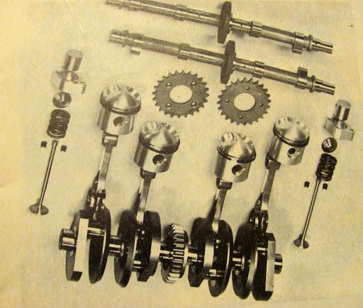 Les organes mobiles de la 350 KRM 1973.