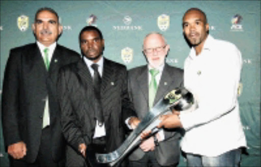 DREAM DRAW: From left to right, Nedbank's Mohamed Saloojee, Tuks PRO Kenneth Neluvhalani, the PSL's Ronnie Schoss and Celtic's Khumbulani Konco during the Nedbank Cup draw at Melrose Arch in Johannesburg yesterday. 23/03/2009. Pic. Abbey Sebetha. © Eagency