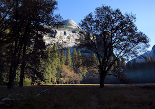 Photo: North Dome just as the sun was rising over Half Dome next day, same meadow.