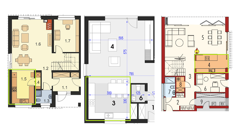 Przykłady rozplanowania kuchni w domu - projekty