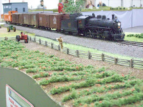 Photo: CNR 10-wheeler and short freight race by the field at Marshall's Siding.