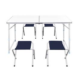 Set camping cu masa reglabila si 4 scaune, MDF, 120 x 60 cm, Gri