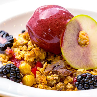 Apple and Blackberry Compote with Hazelnut Crumble and Blackberry Sorbet Recipe