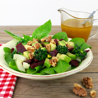 Spinach Beet Brain Food Salad with Omega-3 Dressing.